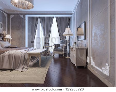 Spacy bedroom with large window covered by twisted curtains. Inspiration for elegant bedroom interior. 3D render