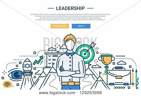 Illustration of vector modern line flat design business composition and infographics elements with a male leader and business aims symbols