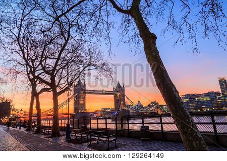 Tower Bridge at dusk London United Kingdom
