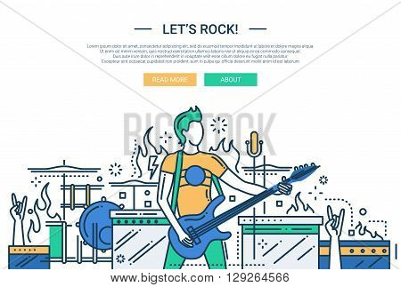 Illustration of vector modern line flat design website banner, header with male playing the electro guitar