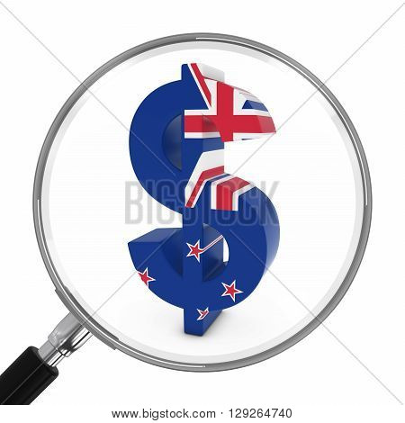 New Zealand Finance Concept - New Zealand Flag Dollar Symbol Under Magnifying Glass - 3D Illustratio