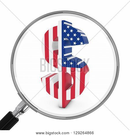 Us Finance Concept - American Flag Dollar Symbol Under Magnifying Glass - 3D Illustration