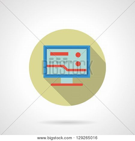 Blue computer with abstract red graph or analyzes. Medical consultation and pharmacy on Internet. Healthcare concept. Round flat color vector icon. Web design element for site, mobile and business.