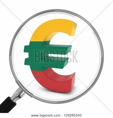 Lithuania Finance Concept - Lithuanian Euro Symbol Under Magnifying Glass - 3D Illustration