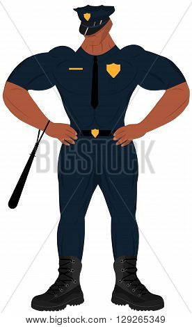Cartoon policeman with baton. Cartoon policeman. Bodybuilder. Cartoon officer.