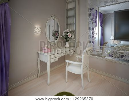 Dressing table near large mirror. Accurate table and white chair near beige wall with sconce. 3D render