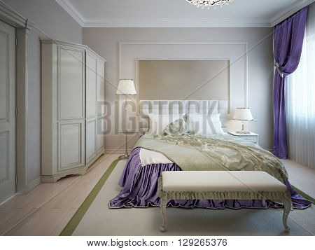 Guest bedroom neoclassic style. Large double bed near wall with frame molding. Some purple decoration like curtains and blanket. 3D render