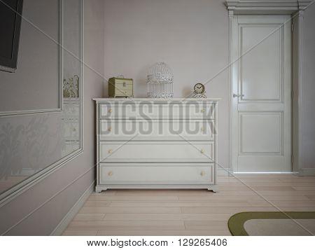 White dresser in bedroom with cream walls. 3D render
