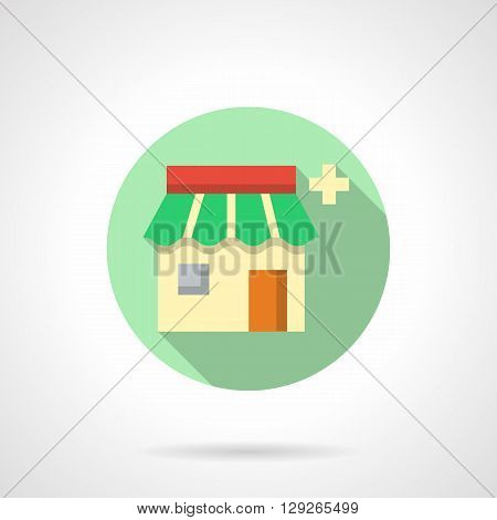Pharmacy facade with green roof and medicine sign. Pharmacology button. Drugstore showcase. Round flat color style vector icon. Web design element for site, mobile and business.