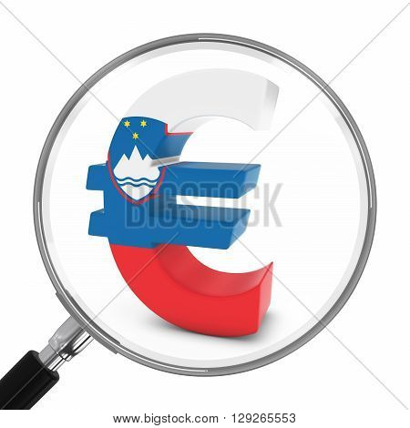 Slovenia Finance Concept - Slovenian Euro Symbol Under Magnifying Glass - 3D Illustration