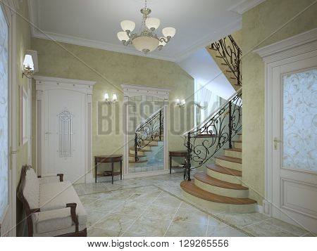 Bright corridor of luxury house in neoclassical style. Wide meeting with sconces on perimeter. Plaster textured walls of light olive color light marble ceramic flooring. 3D render