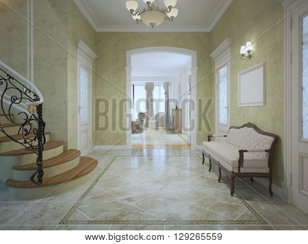 Bright expensive corridor with stairs. Luxury soft bench cream color with mahogany wood framing. 3D render