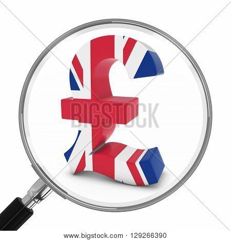 Uk Finance Concept - British Pound Symbol Under Magnifying Glass - 3D Illustration