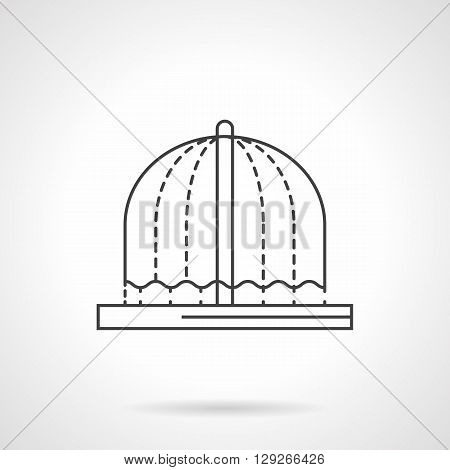 Arched flowing fountain. Decorations for urban landscape. Refreshing in summer in park, garden. Flat line style vector icon. Single design element for website, business.
