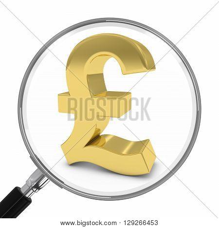 Gold Pound Symbol Under Magnifying Glass - 3D Illustration