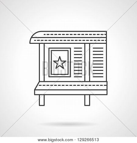 Poster with star on an advertising board. Trade, commercial advertising and marketing. City information and ads. Flat line style vector icon. Single design element for website, business.