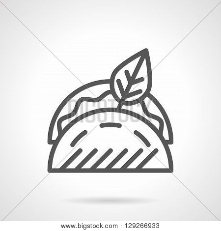 Tacos with filling and leaf. Street fast food. Traditional mexican food menu. Simple black line vector icon. Single element for web design, mobile app.