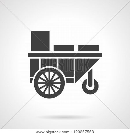 Street trading cart or trolley. Summer street sale of cold drinks. Mobile bar for festivals, coast, park. Symbolic black glyph style vector icon. Element for web design and mobile.