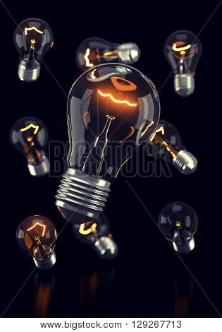 Falling light bulbs with glowing spirals on black background. 3d rendering