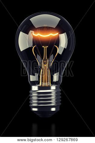 Classic glowing light bulb on black background. 3d rendering