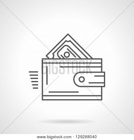 Wallet with money. Shopping, bank deposit and lending, currency exchange and other financial operations sign. Flat line style vector icon. Single design element for website, business.