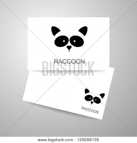 Raccoon logo. Isolated raccoon head on white background.