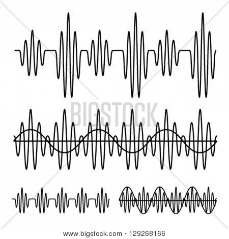 sinusoidal sound wave black line vector
