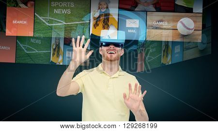 3d technology, virtual reality, cyberspace, entertainment and people concept - happy young man with virtual reality headset or 3d glasses networking over black background