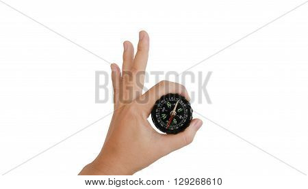 Isolated Hand With Compass On White Background