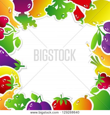 Frame made of fruits and vegetables: olives broccoli chili carrots cherries berries pears plums tomatoes eggplant raspberries onion apple mango beets strawberries lemon. Vector illustration.