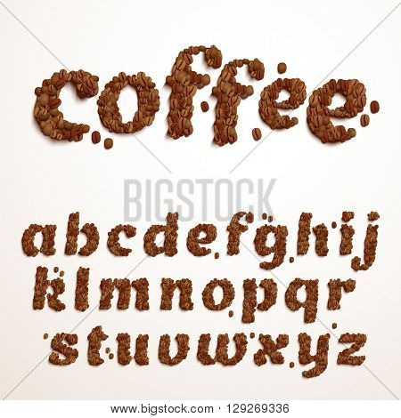 Vector font made of coffee beans. Realistic characters style. Latin alphabet from A to Z.