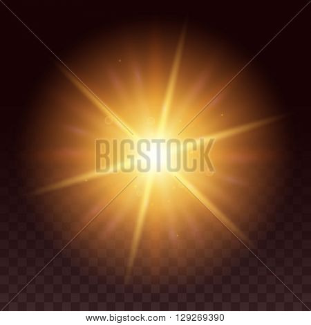 Vector glow light effect. Star bursts with sparkles isolated on black background. Yellow hexagon lens flare from sun or star.