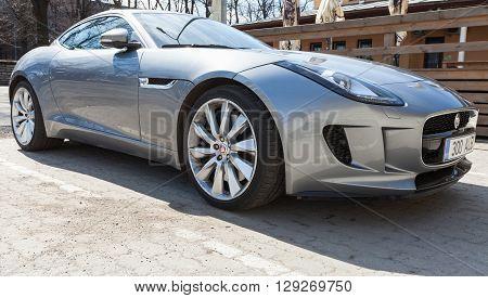 Gray Metallic Jaguar F-type Coupe, Closeup