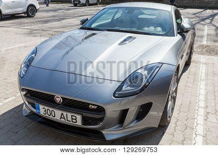 Gray Metallic Jaguar F-type Coupe, Close Up