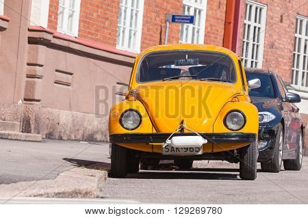 Old Yellow Volkswagen Beetle, Front View