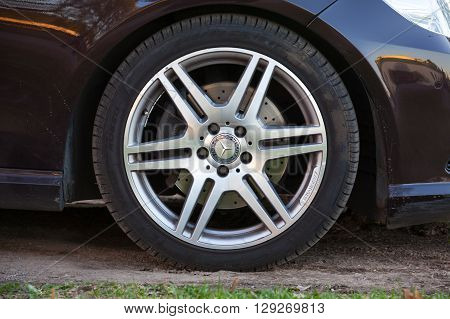 Car Wheel By Amg With Mercedes Benz Logo