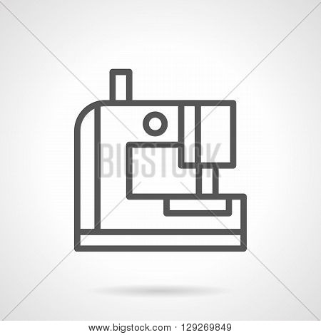 Portable mini sewing machine. Tailoring and clothes repair at home. Sign for technical instruction. Simple black line vector icon. Single element for web design, mobile app.
