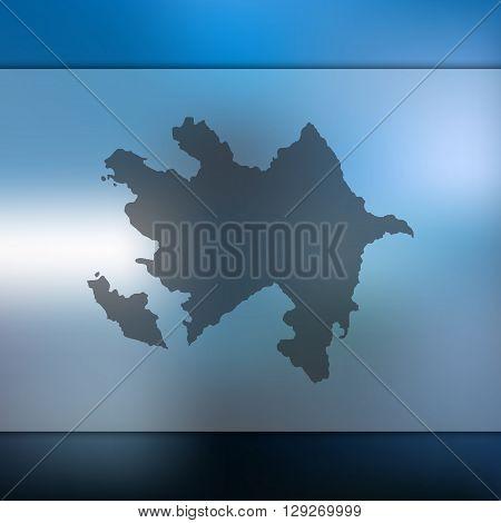 Azerbaijan map on blurred background. Azerbaijan vector map. Blurred background with silhouette of Azerbaijan.
