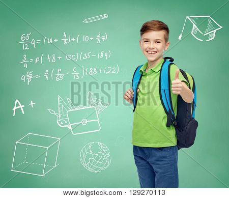 childhood, education and people concept - happy smiling student boy with school bag over doodles on green chalk board background