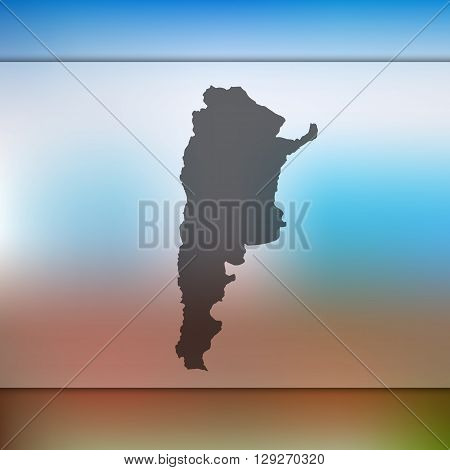 Argentina map on blurred background. Argentina vector map. Blurred background with silhouette of Argentina.