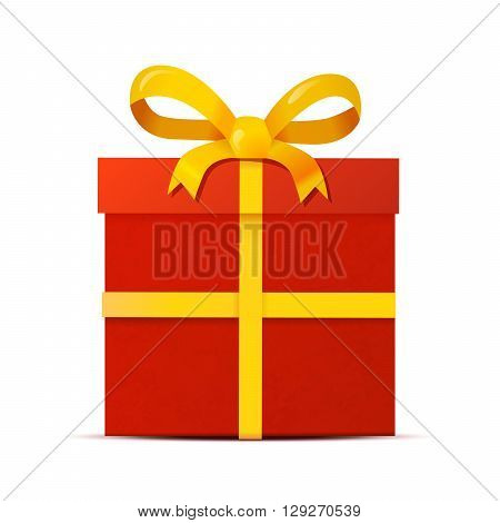 Red gift box with yellow ribbon isolated on white