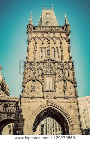 The Powder Tower or Prasna Brana in Prague, Czech Republic. Wide angle view, vintage