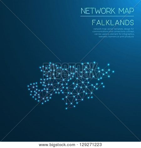 Falkland Islands (malvinas) Network Map. Abstract Polygonal Map Design. Internet Connections Vector