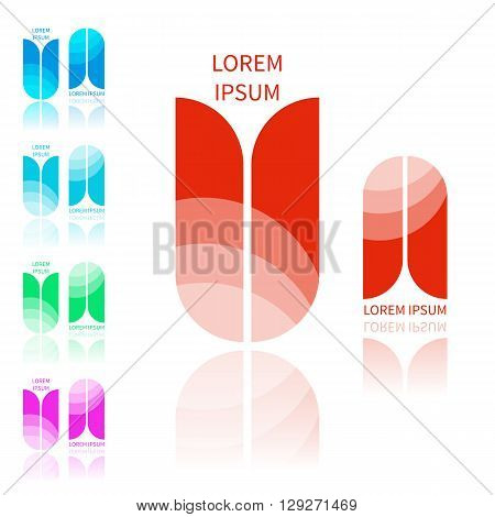 Vector set of abstract icons template in various colors. Icons in flat style. Modern style icons with sample text. Glossy icons for various use. Main icon is in red color.