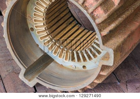 close up of motor internal structure for Repair