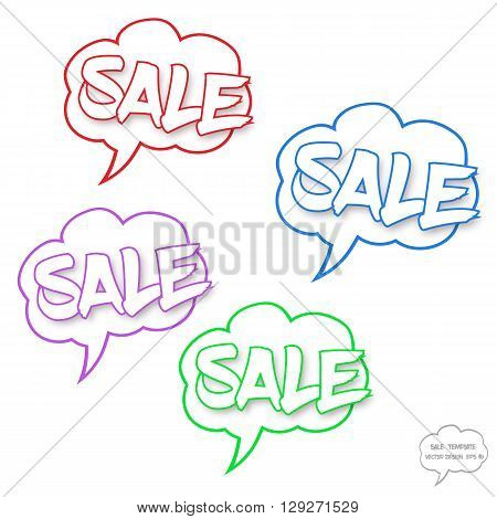 Fully vector Sale concept. Set of comics bubbles with Sale text. Comics bubbles on white background. Sale text with shadow. The text is in outlines. Comics bubbles are in cloud style. Various colors. Signs for various use especially for discount events.