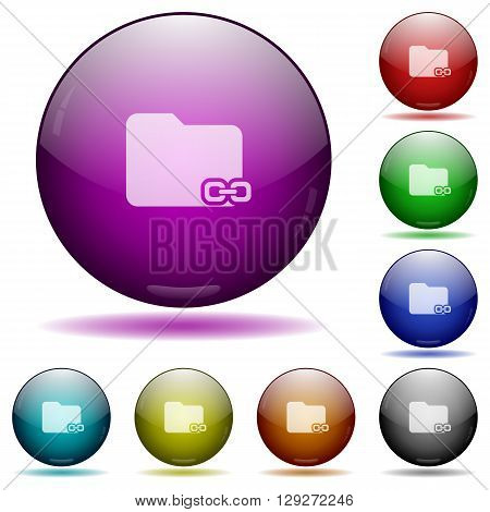 Set of color Linked folder glass sphere buttons with shadows.