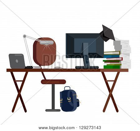 Vector detailed objects for education. Flat education set, style vector education, illustration education objects