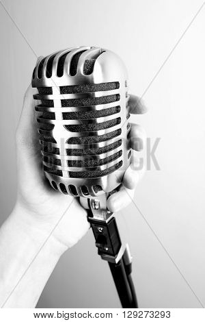 Classic Vintage microphone on white back ground