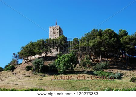 Sohail Castle with the Parque del Castillo sign in the foreground Fuengirola Malaga Province Andalucia Spain Western Europe.